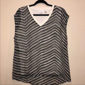 Calvin Klein Striped V-Neck Layered Blouse